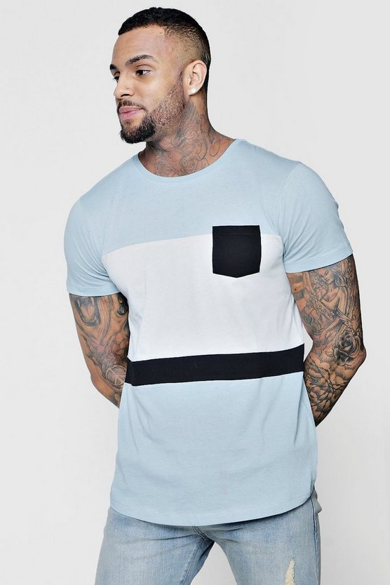 Colour Block Curved Hem T-Shirt With Pocket