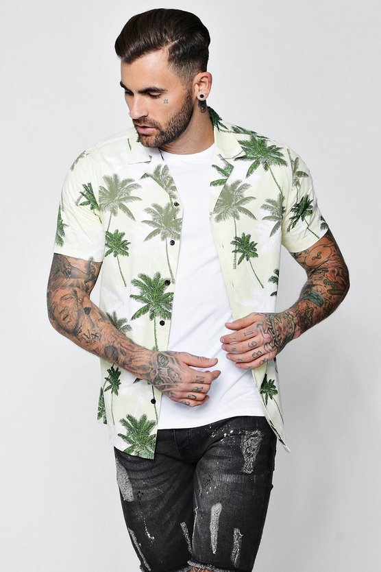 Palm Tree Print Revere Short Sleeve Shirt
