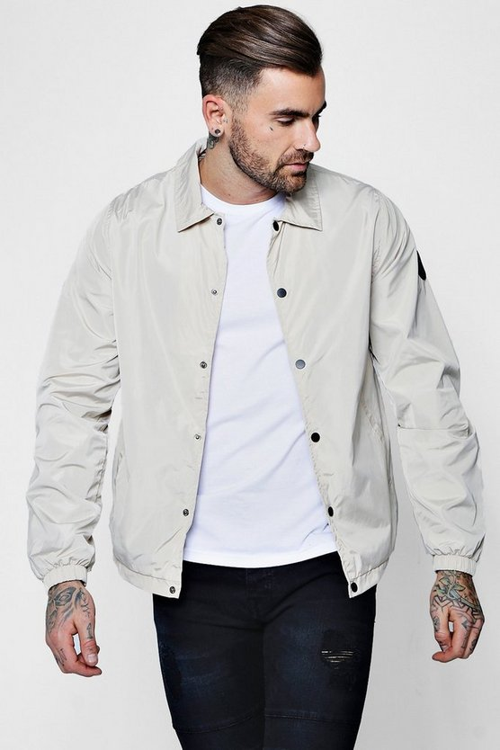 Stone Popper Front Coach Jacket