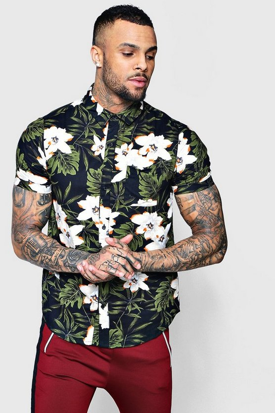 Dark Floral Print Short Sleeve Shirt