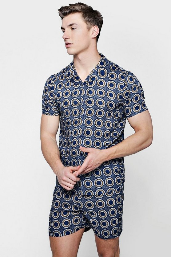Circle Print Revere Short Sleeve Shirt Co-ord