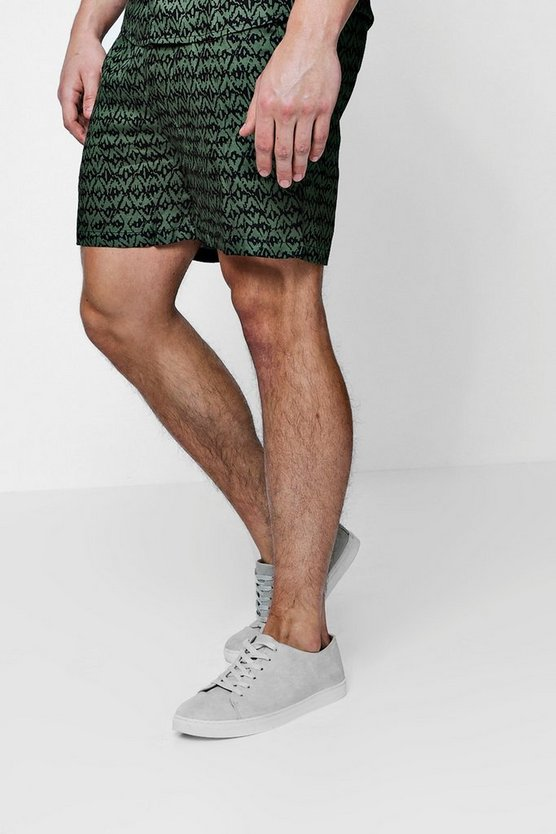 Khaki Printed Drawstring Shorts Co-ord