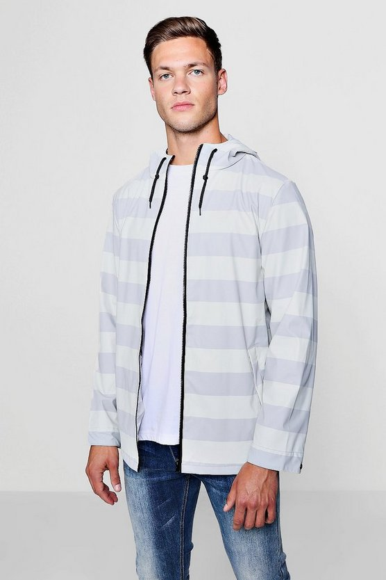 Striped Shower Resistant Coat