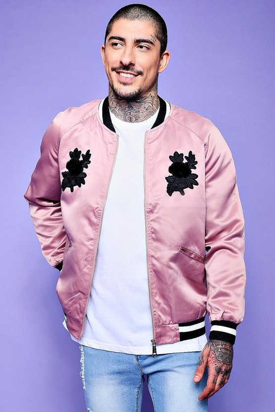 Rose Embroidered Sateen Bomber With Sports Rib