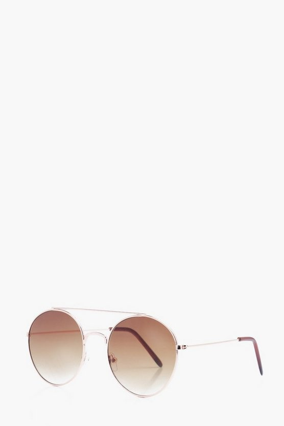Faded Lens Round Sunglasses