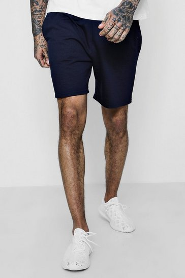 Navy Basic Jersey Mid-Length Shorts