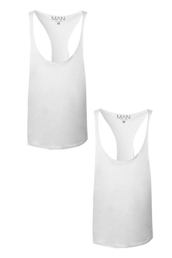 2 Pack Raw Edge Racer Back Vest In Regular Fit
