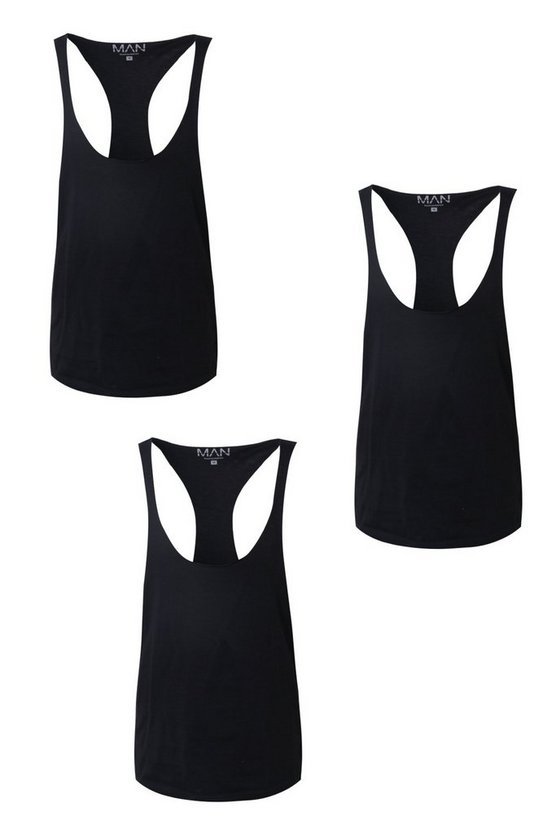3 Pack Raw Edge Racer Back Vest In Regular Fit