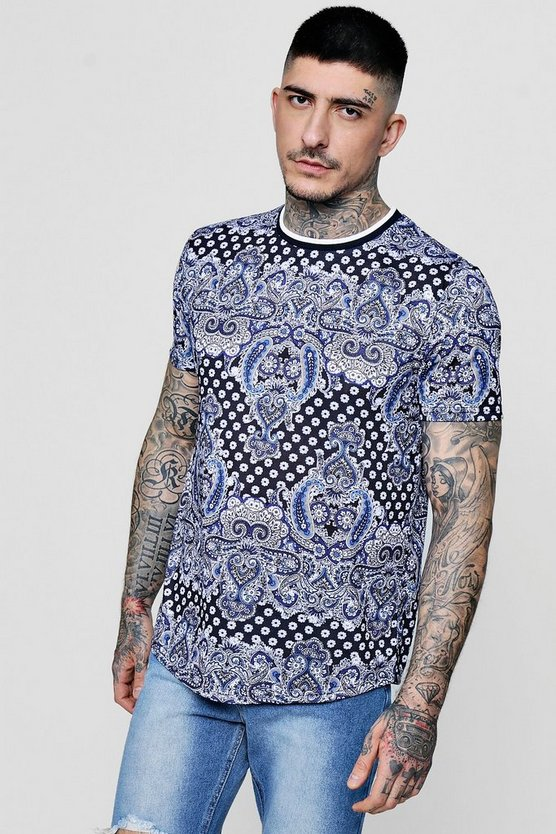 All Over Paisley Sublimation T-Shirt With Curve Hem