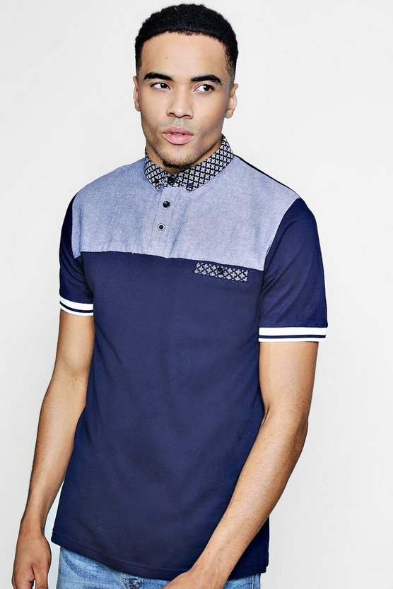Colour Block Pique Polo With Printed Collar
