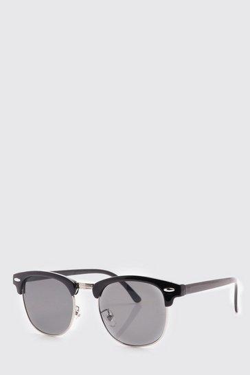 Black Retro Silver Frame Sunglasses