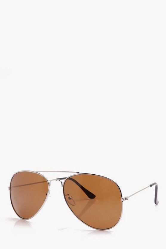Classic Aviator Sunglasses With Brown Lens