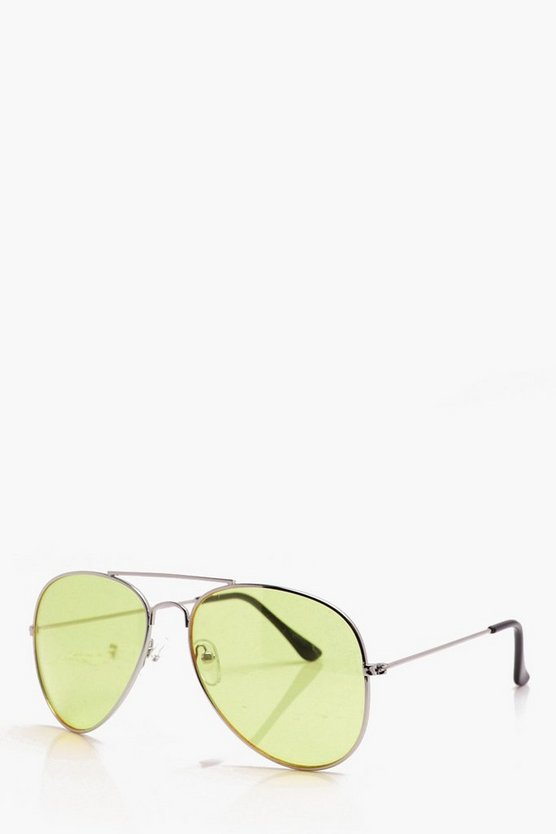 Classic Aviator Sunglasses With Yellow Lens
