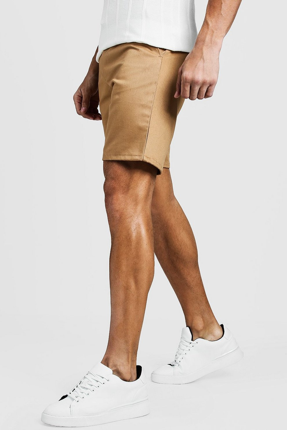 Boohoo Mid Length Slim Fit Chino Shorts In Stone Factory Outlet Cheap Price Browse Online Clearance Store High Quality Outlet Locations OxFF0FGp