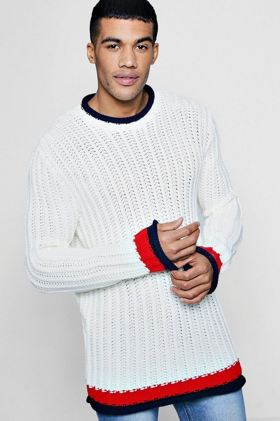 Waffle Knit Jumper With Contrast Trims
