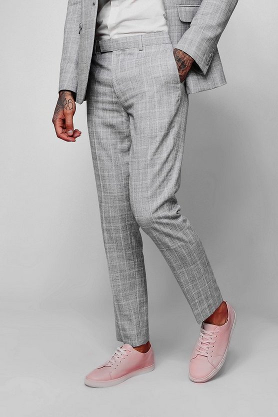 Textured Check Skinny Fit Suit Trouser