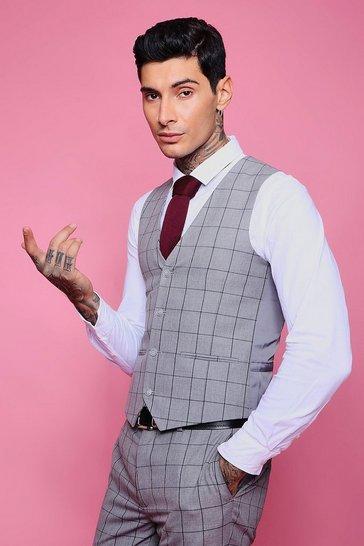 Grey Windowpane Check Skinny Waistcoat