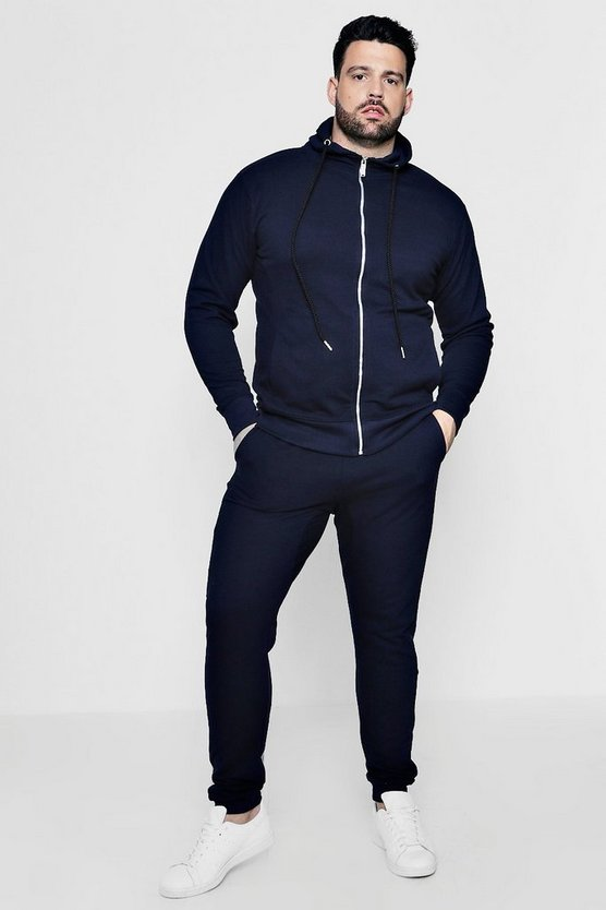 Big And Tall Skinny Fit Pique Hooded Tracksuit