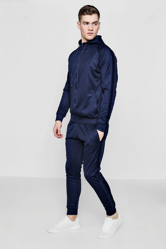 Skinny Contrast Panel Hooded Tracksuit