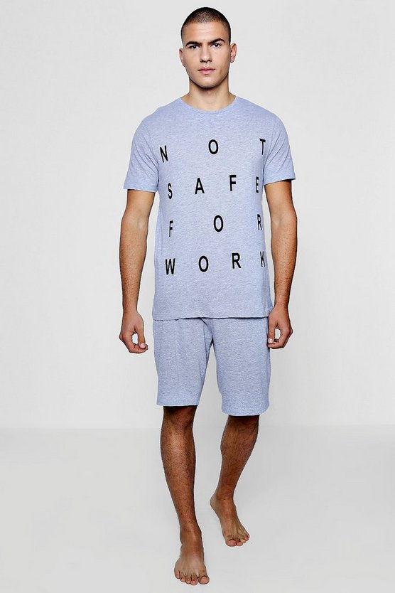 Slogan Pyjama T Shirt And Short Set by Boohoo