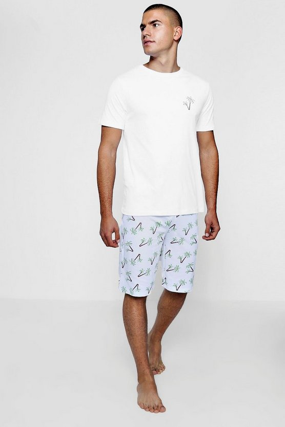 Palm Tree Print Pyjama T-Shirt And Short Set