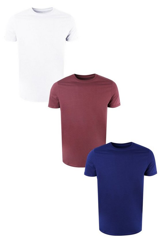3 T-shirt slim fit con maniche arrotolate