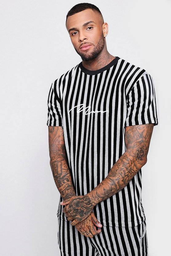 Loose Fit MAN Signature Velour T-Shirt Co-ord