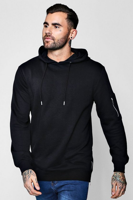Longline MA1 Hoodie With Side Zips