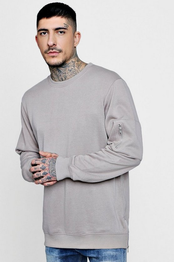 Longline MA1 Sweater With Side Zips