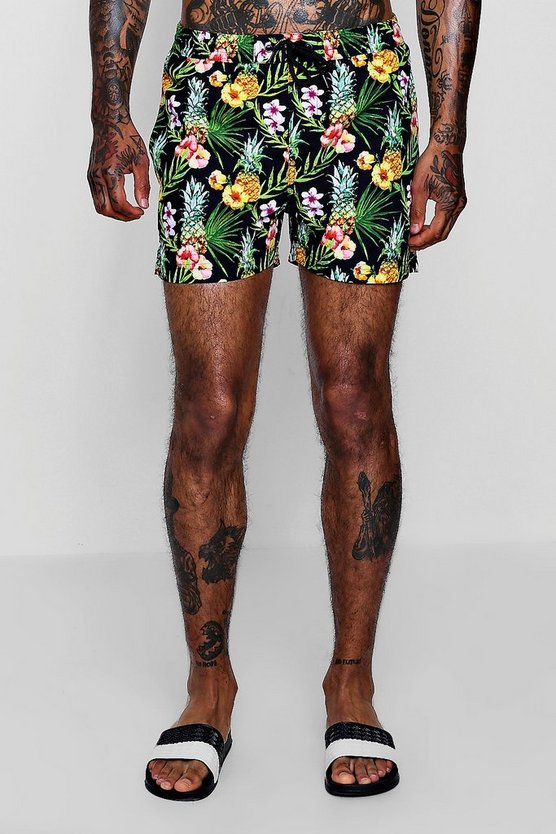 Pineapple Floral Print Swim Shorts