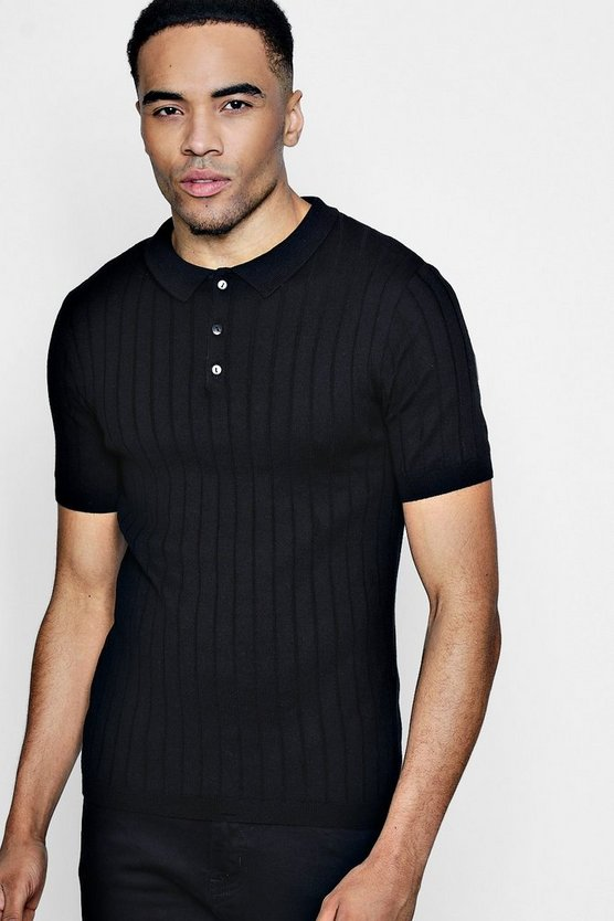 Muscle Fit Rib Knitted Short Sleeve Polo.