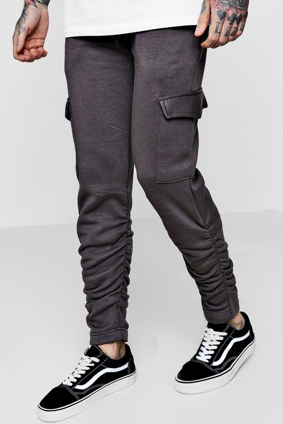 Skinny Fit Cargo Trousers With Ruching