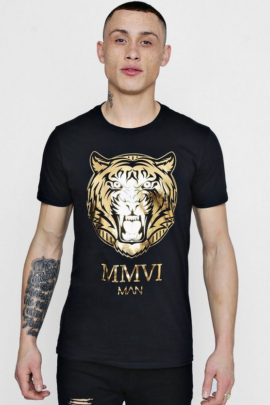 MAN Tiger Foil Print T-Shirt