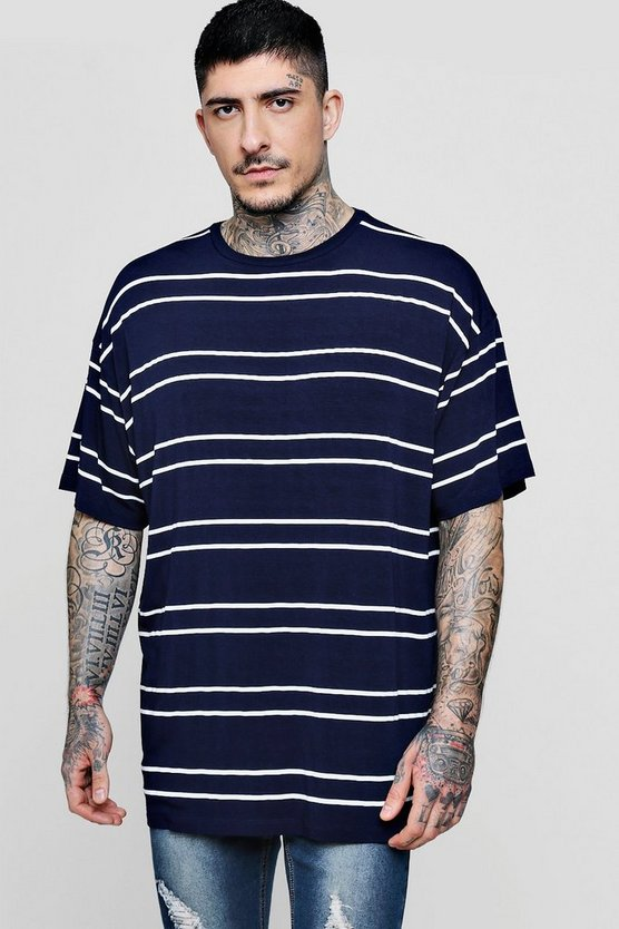 Oversized Short Sleeve Horizontal Stripe T Shirt