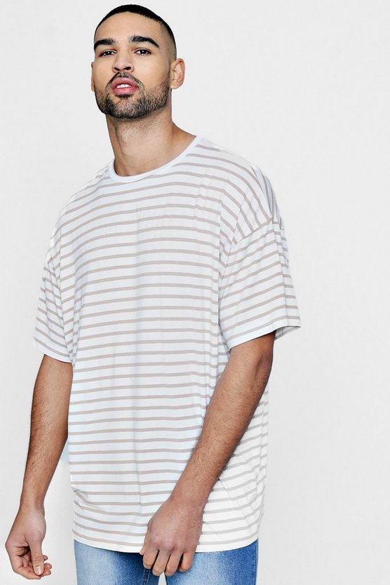 Crew Neck Oversized Stripe T Shirt