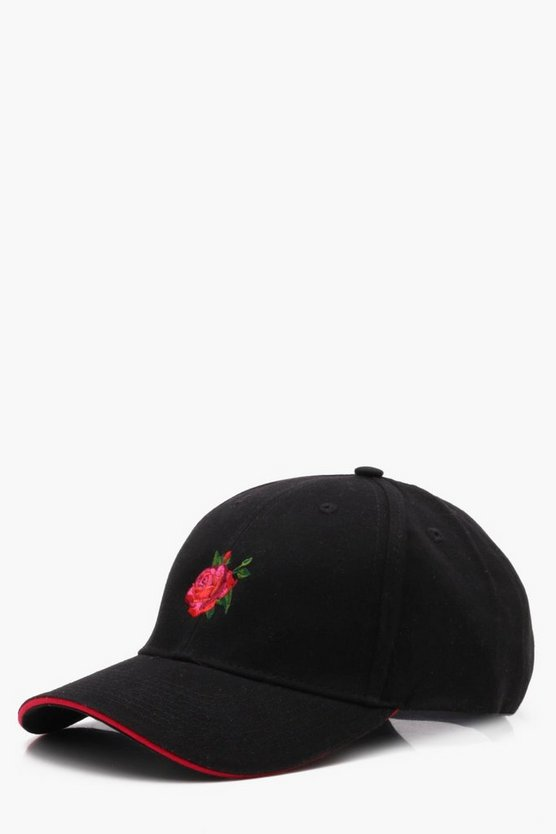 6 Panel Sandwich Cap With Rose Embroidery
