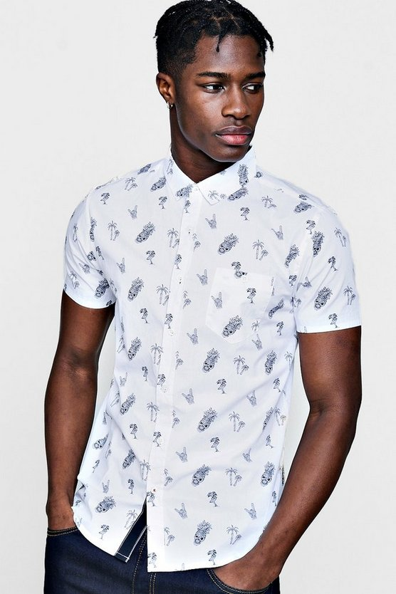 Short Sleeve Skull And Palm Print Shirt