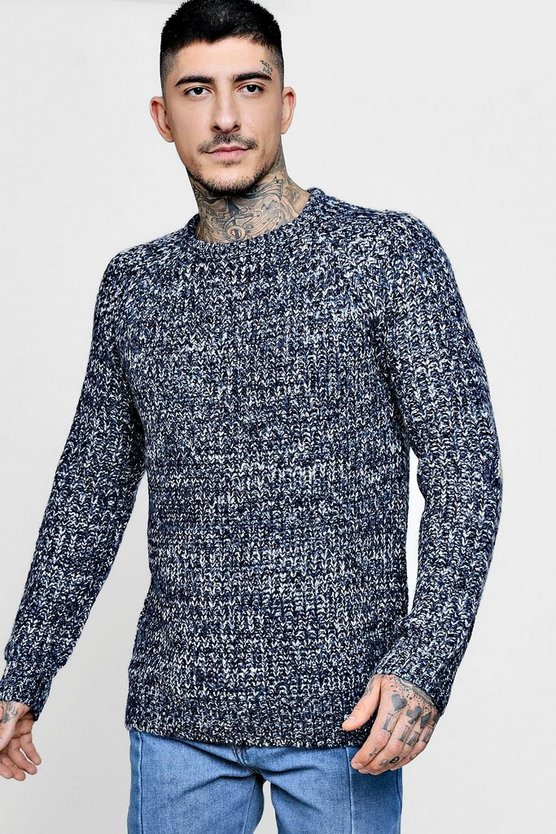 Crew Neck Twisted Yarn Fisherman Knit Jumper