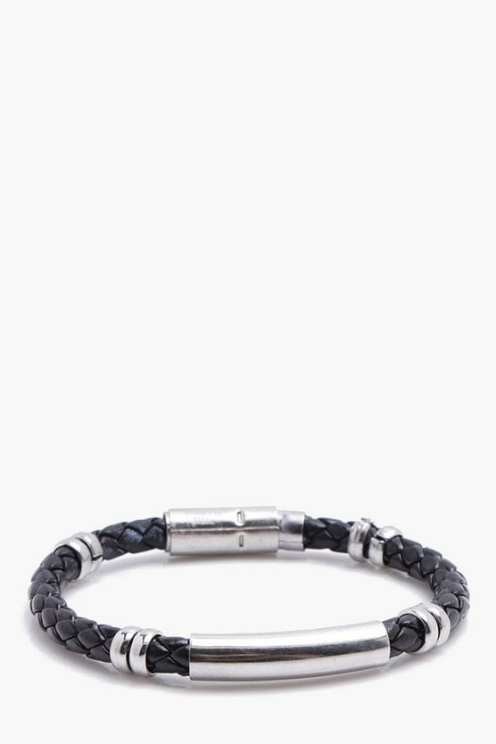 Faux Leather Braid Bracelet With ID Tag