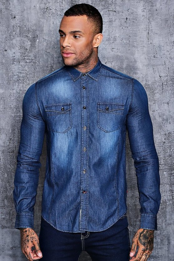 Long Sleeve Denim Shirt in Mid Wash