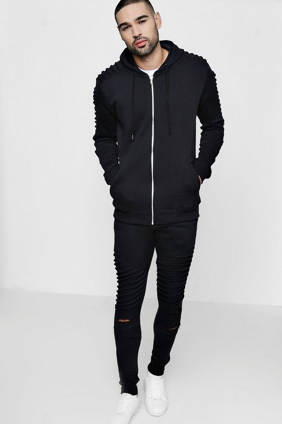 Skinny Fit Biker Tracksuit In Fleece