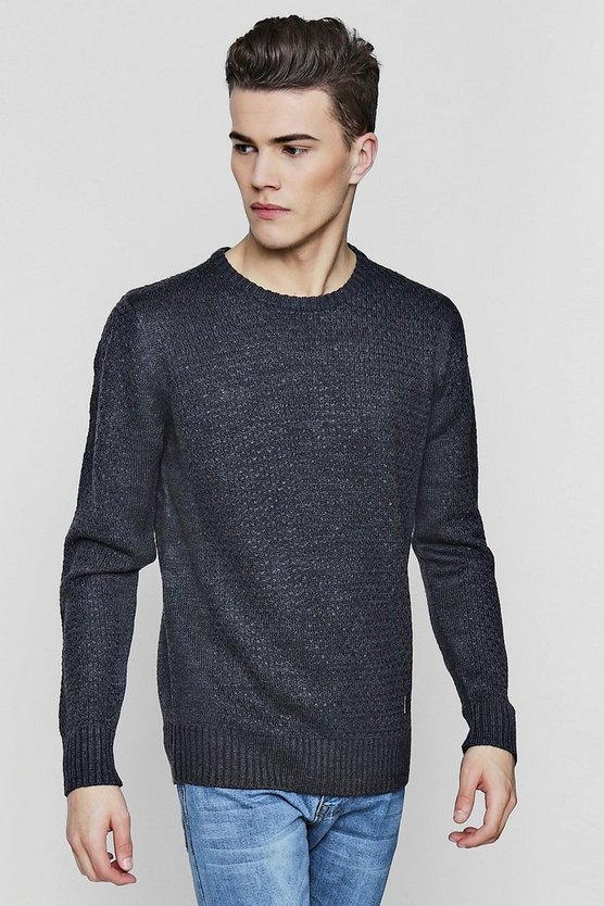 Jacquard Knit Crew Neck Jumper