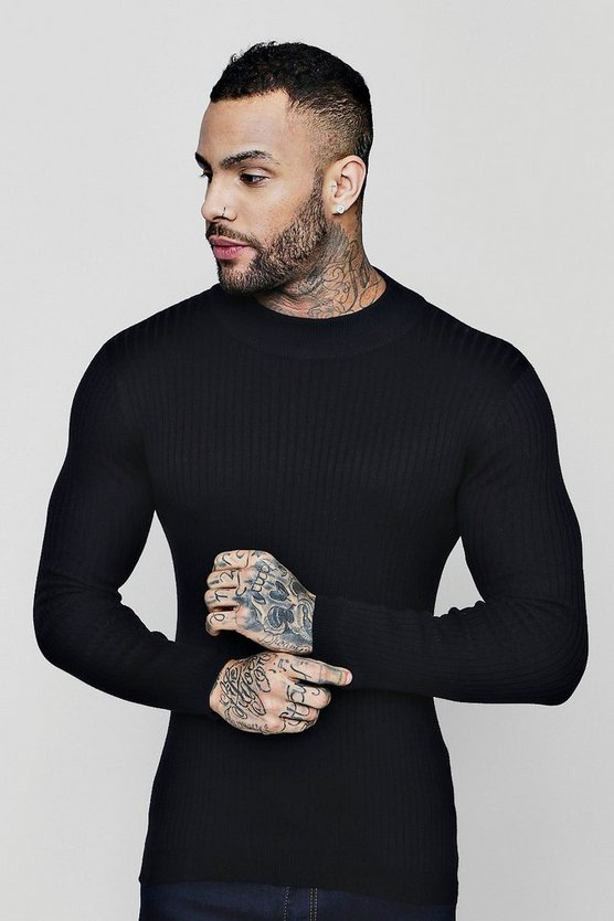 High Neck Rib Muscle Fit Jumper