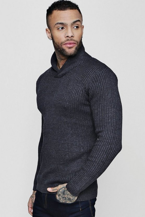 Shawl Neck Ribbed Jumper