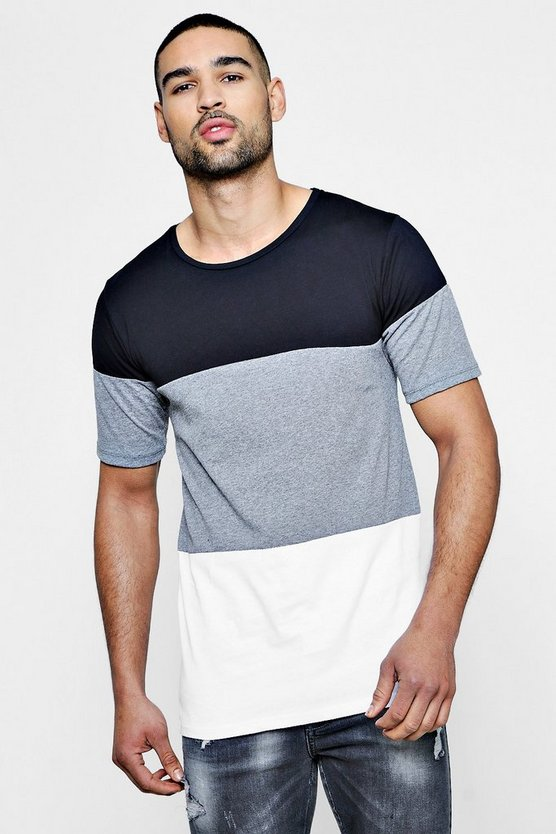 Longline Colour Block T Shirt