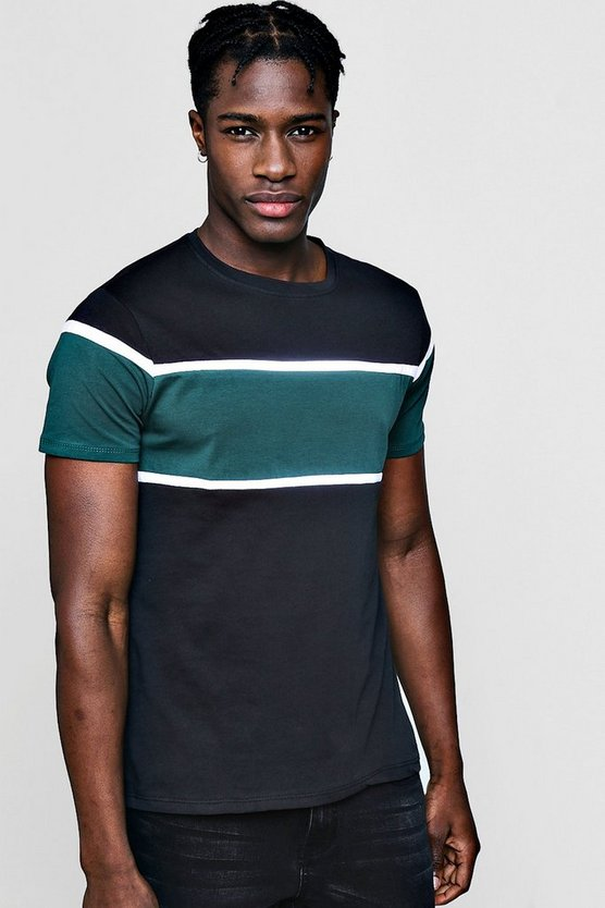 Colour Block Chest Panel T Shirt