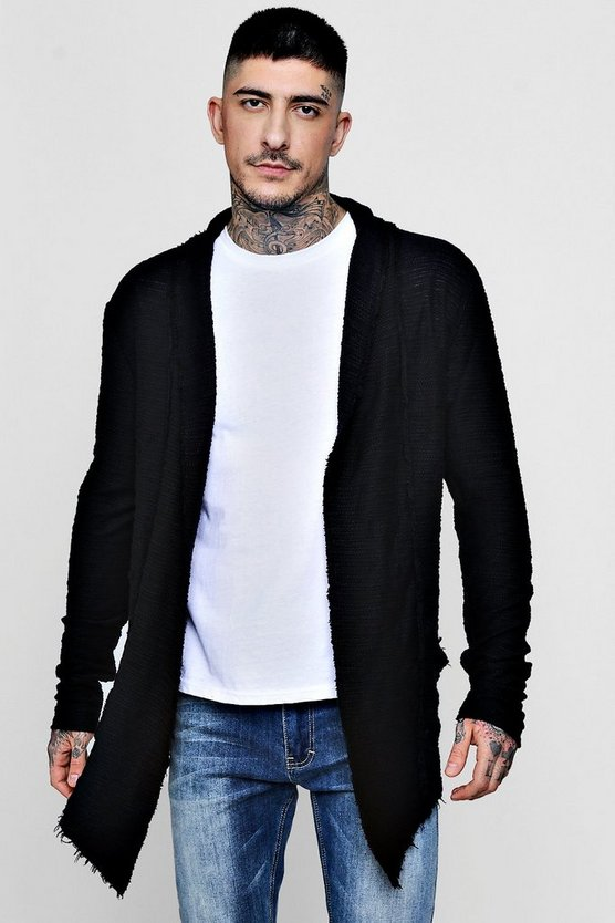 Raw Hem Textured Longline Cardigan