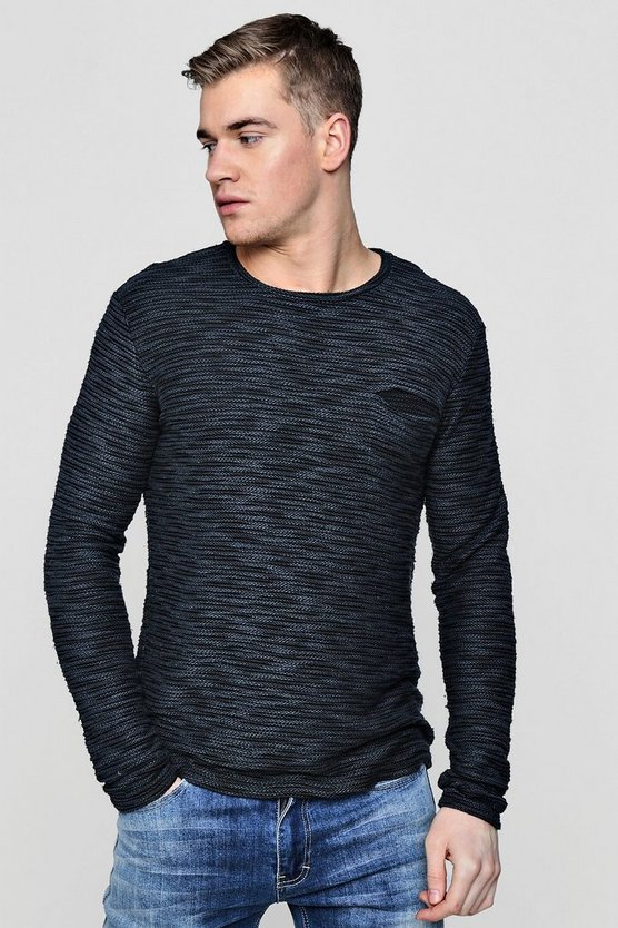 Textured Long Sleeve Crew Jumper