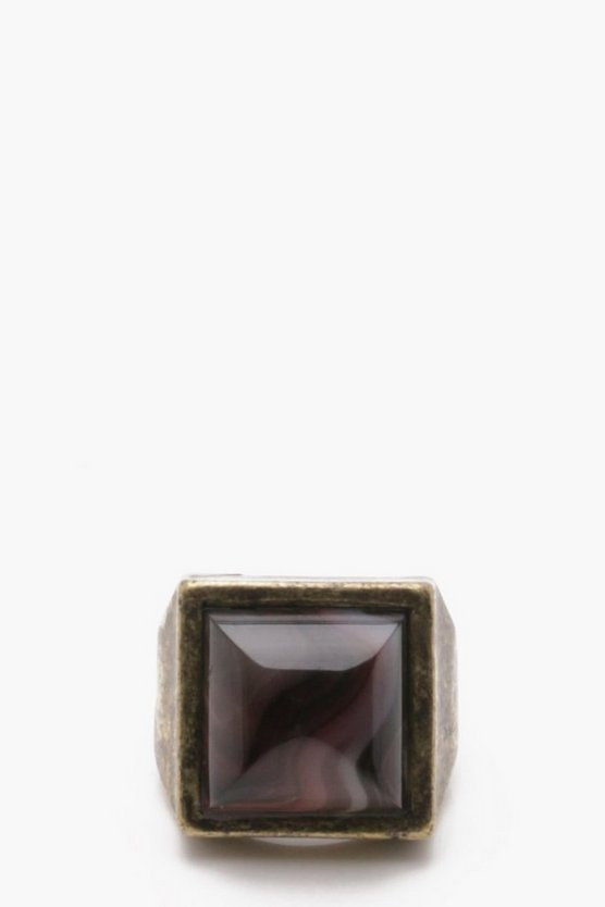 Burnished Gold Ring With Black Stone