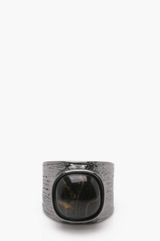 Gunmetal Ring With Black Stone